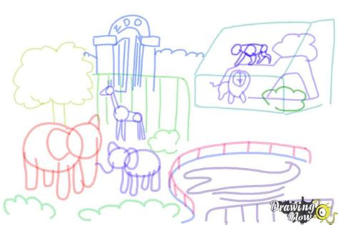 Drawing Zoo by How To Draw A Zoo Drawingnow