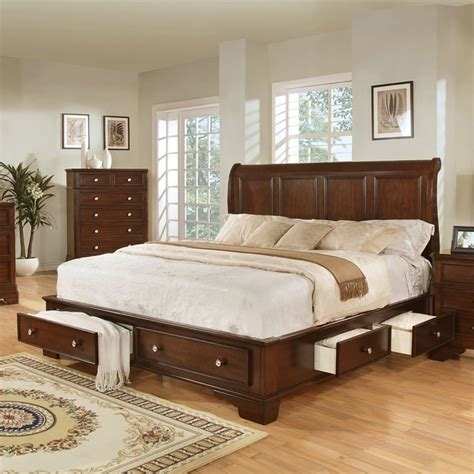 sleigh bedroom sets queen modern bayliss cherry finish queen size storage sleigh