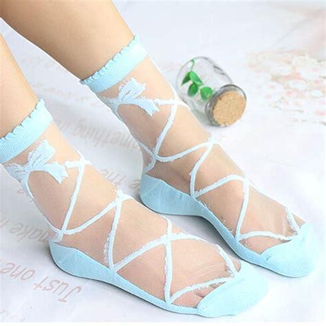 Kaos Cotton Elastic Impor womens silk ruffle lace ankle socks ultrathin sheer cotton elastic hosiery ebay