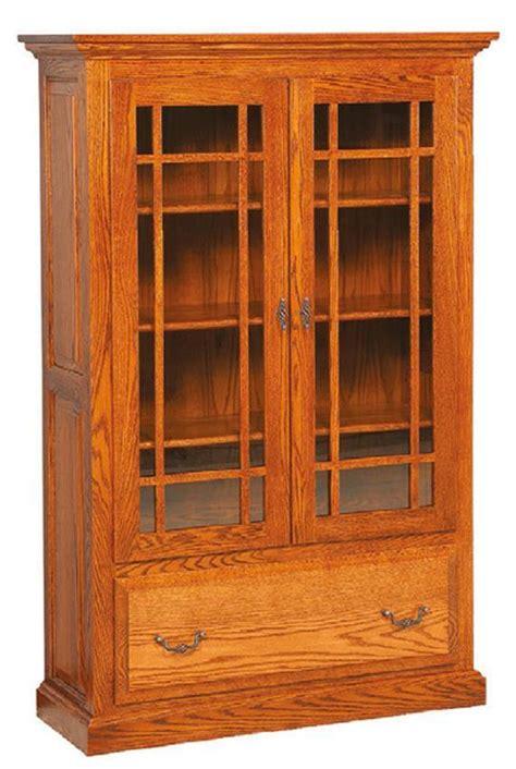solid wood raised panel bookcase  glass doors