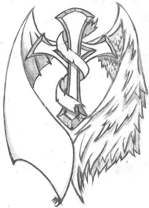 shaded cross tattoo designs best 25 cross with wings ideas on
