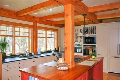 post and beam kitchen with center island kitchen islands