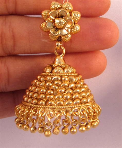 gold jhumka pattern buy earrings jhumka chandelier gold plated temple
