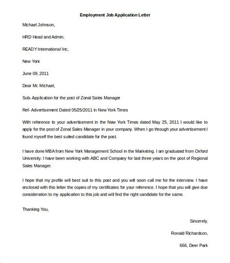 Application Letter Template An Application Letter For Employment