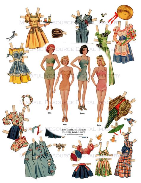 Wall Stickers For Adults 1940s vintage paper dolls nostalgia wwii era whitman paper