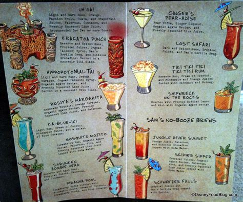 cocktail drinks menu drink menu the disney food