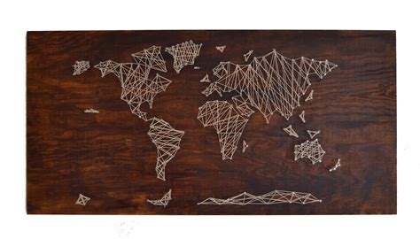 String World Map - the crafty novice diy string world map
