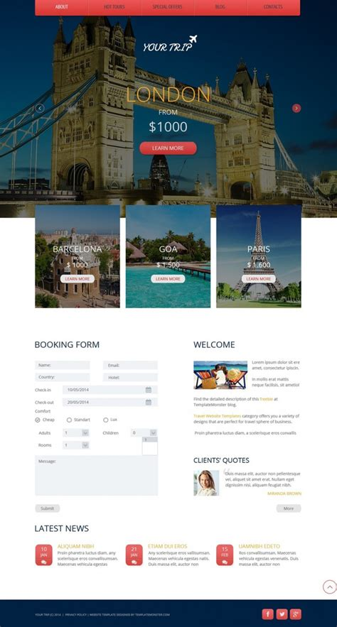 Html Templates For Tourism Website Free Download | travel agency free website template free templates online