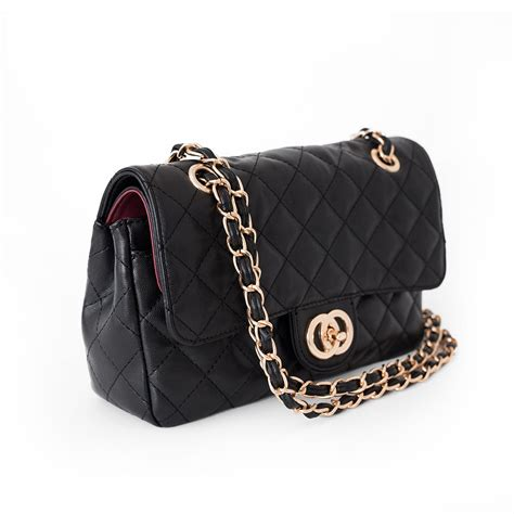 Chain Quilted Shoulder Bag black quilted bag with gold chain beehola