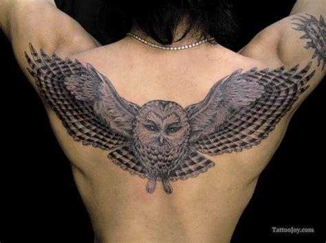 owl back tattoo owl wings