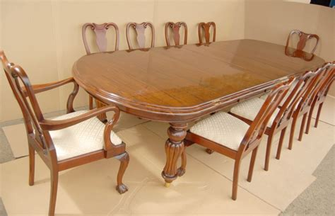 14 foot victorian dining table amp 10 queen anne chairs ebay