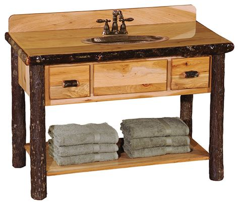 The Sink Shelf With Drawers by Hickory Open Vanity With Shelf And 2 Drawers Rustic