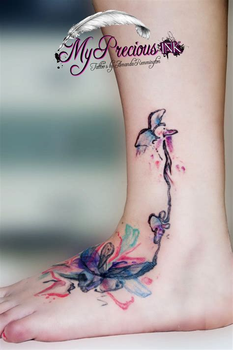 watercolor tattoo foot watercolor by mentjuh tattoos