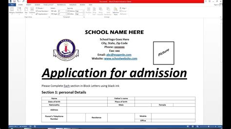 how to make admission form on ms word hindi youtube