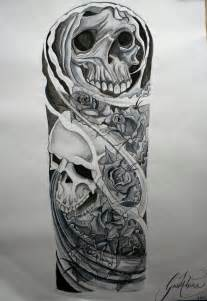 skull and roses sleeve tattoo designs skull half sleeve drawings skull