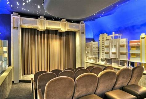 Home Theater City home theatre with a city setting with murals home