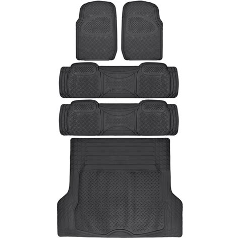 Suv Floor Mats by Suv Floor Mat For 3 Row Car All Weather Black Trimmable Semi Custom W Trunk Mat Ebay