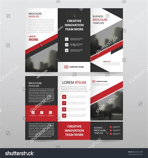 red black triangle business trifold leaflet stock vector