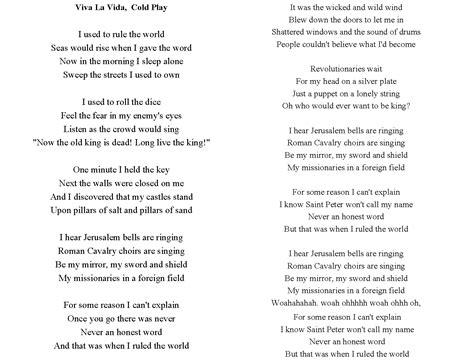 viva lyrics viva la vida live pocket perspectives