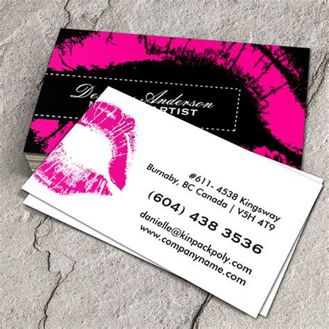 free business card template for makeup artist pink makeup business cards