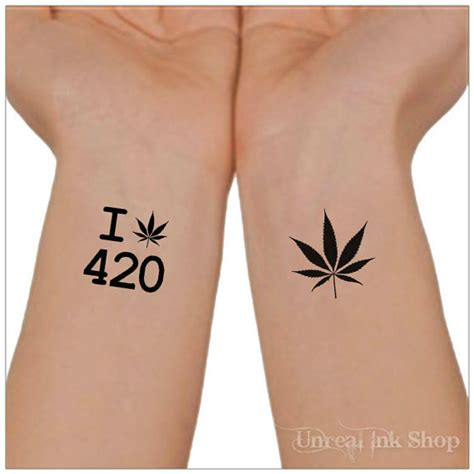 temporary tattoo 420 marijuana cannabis waterproof ultra thin
