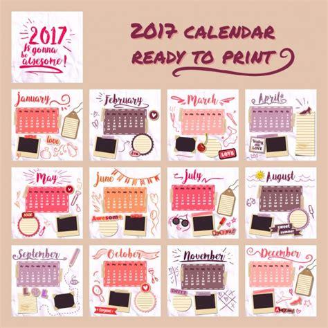 Calendario Para Descargar 2017 2017 Calend 225 Para As Meninas Baixar Vetores Gr 225 Tis
