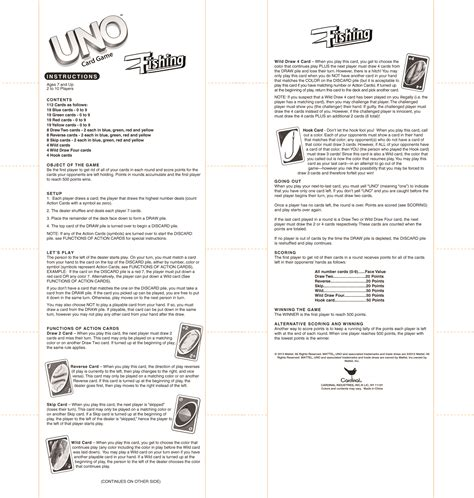 printable uno card game rules cardinal industries inc game