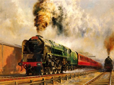 painting trains journeys railroad steam paintings