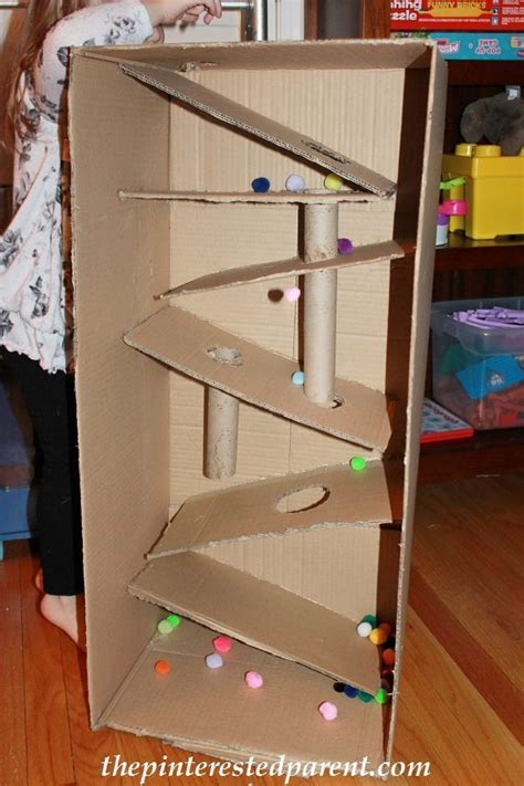 Pom Pom Craft For Kids - cardboard box marble run the pinterested parent