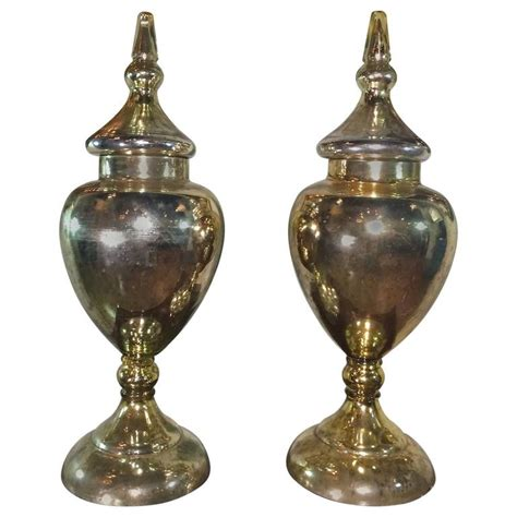 Decorative Urns Vases by Pair Of Mercury Glass Urns For Sale At 1stdibs