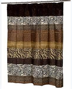 safari zebra leopard faux fur trimmed shower curtain