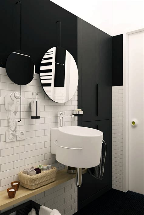 bathroom uses tiny apartment in black and white charms with space saving