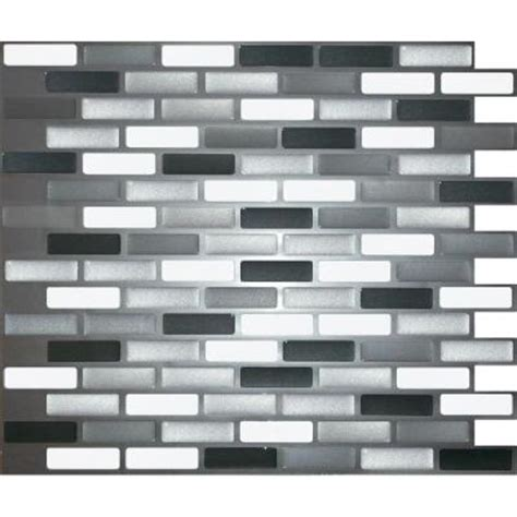 adhesive decorative wall tile stick it tiles 11 in x 9 25 in black grey silver oblong