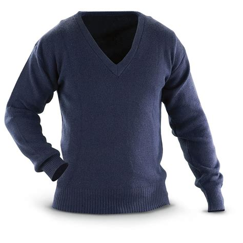 Sweater Blue Army navy blue wool sweater baggage clothing