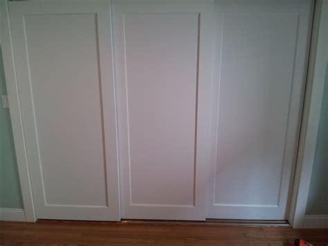 wood 3 panel sliding door 9068 installed 3 panel doors on custom sliding track for