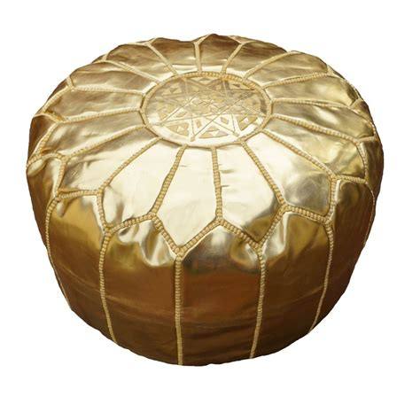 moroccan leather pouf ottoman footstool gold moroccan leather pouf pouffe ottoman footstool