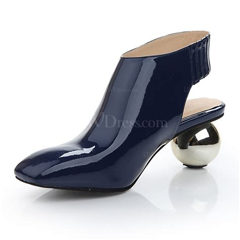 Wedding Shoes Booties by Navy Blue Closed Toe Wedding Shoes Patent Leather Abnormal