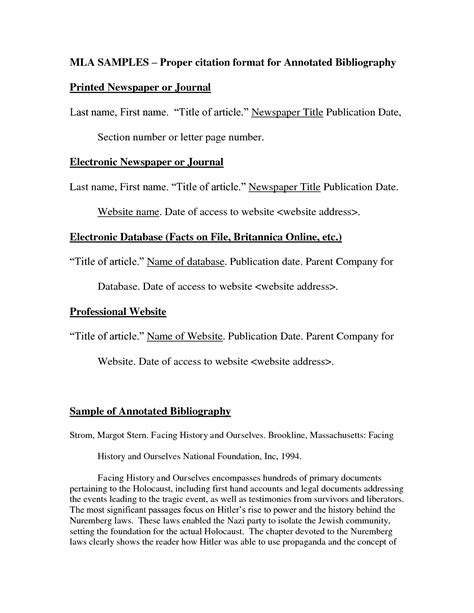 Mla Format Template by Best Photos Of Mla Format Annotated Bibliography Template