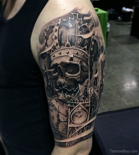 skull and crown tattoo on half sleeve tattoo designs