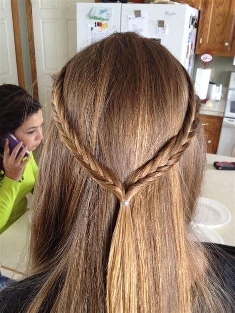 straight hair with fishtail crown everyday school quick