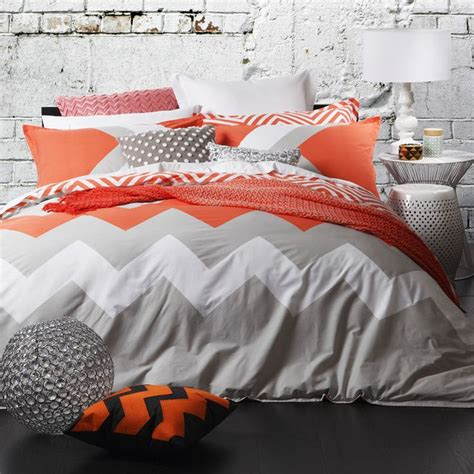Harris Scarfe Quilt Covers by Logan Marley Tangerine Chevron King Size Doona