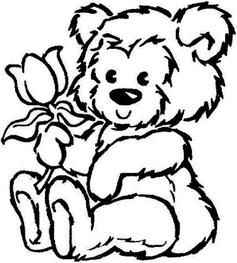 Teddy Bear With Rose Coloring Page | teddy bear colouring pages clipart best