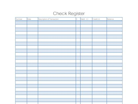 free check register template 5 printable check register templates formats exles