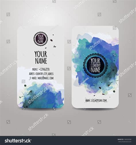Free Watercolor Business Card Template by Vector Template Business Cards With Watercolor Paint