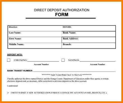 direct deposit forms for employees template direct deposit forms for employees template image