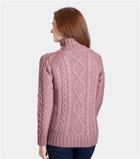 Turtle Neck Wool Sweater rustic wool aran polo neck jumper women s
