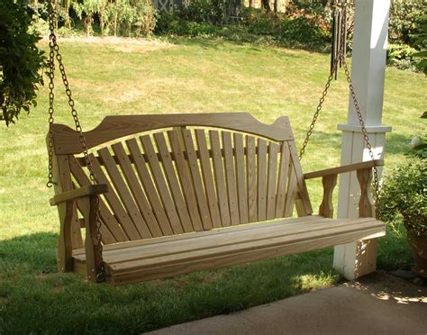 yard swing treated pine fanback porch swing