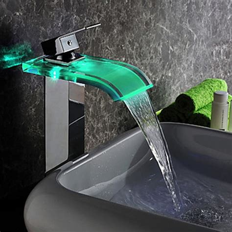 led bathroom faucet contemporary led waterfall hydroelectric power glass