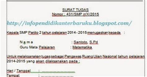 contoh surat tugas pengawas ujian nasional terbaru info pendidikan