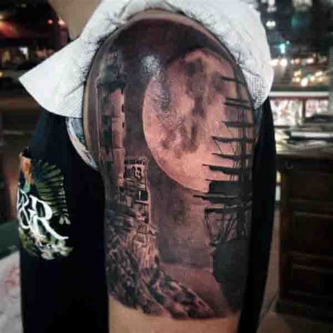 sailing ship tattoo 90 moon tattoos for ship of light on the sea of
